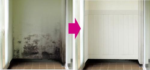 カビ汚れが取れない壁にクッションシートを貼った例