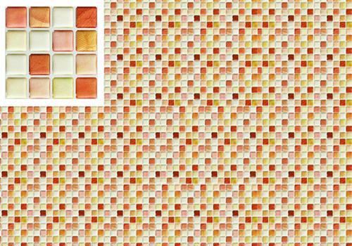 モザイクタイルシール サンプル画像と壁一面に貼った場合の色の見え方