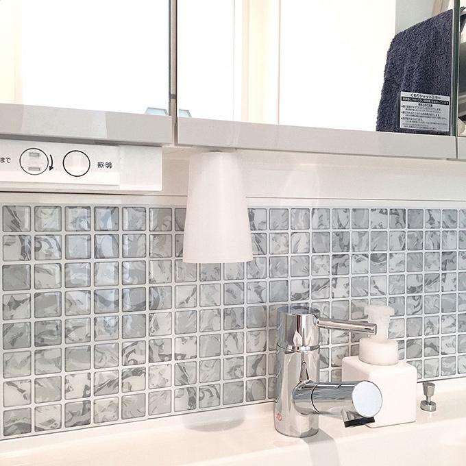 お客様の使用例 洗面所 モザイクタイルシール
