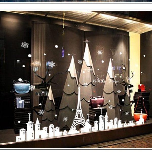 クリスマスウォールステッカーホワイト/街並み(ABQ9803)