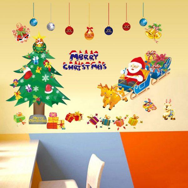 クリスマスウォールステッカーサンタとトナカイXY1700