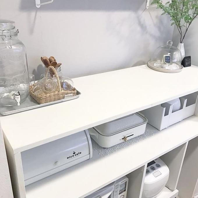 キッチンの棚 作業台 ワークトップに モザイクタイルシール