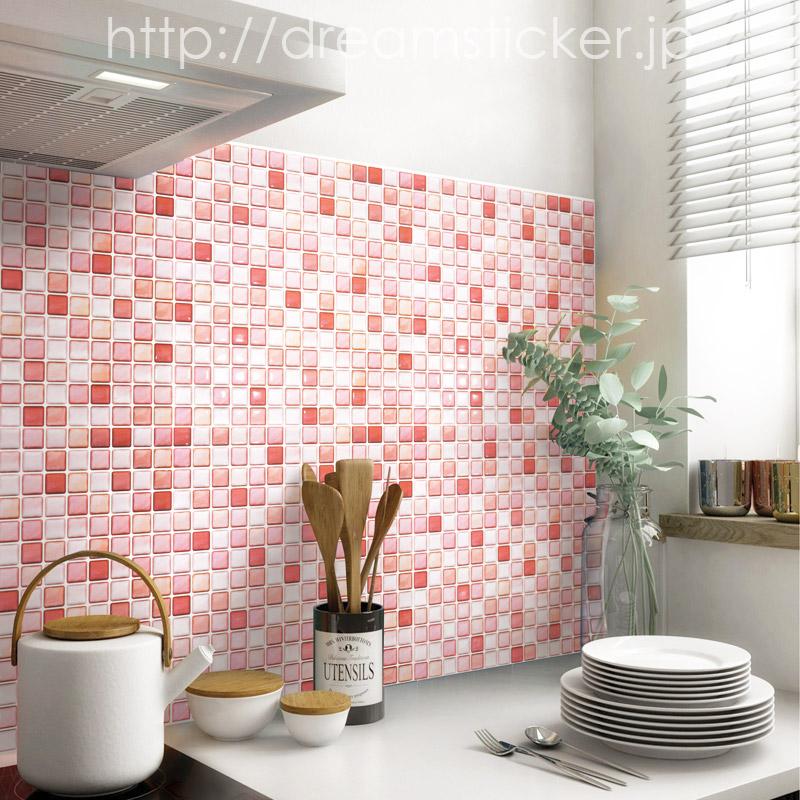 モザイクタイルシール ピンク