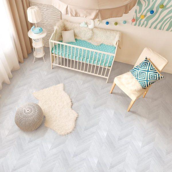 フロアシートホワイトフレンチヘリンボーン使用例子供部屋